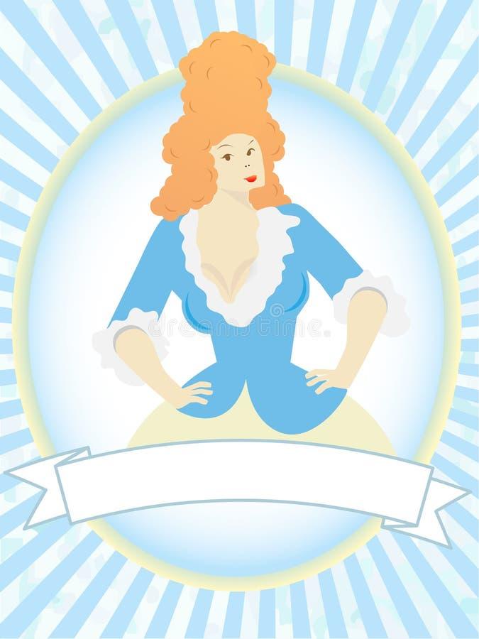 blank blå produkt för kvinnligetikettmaskot stock illustrationer