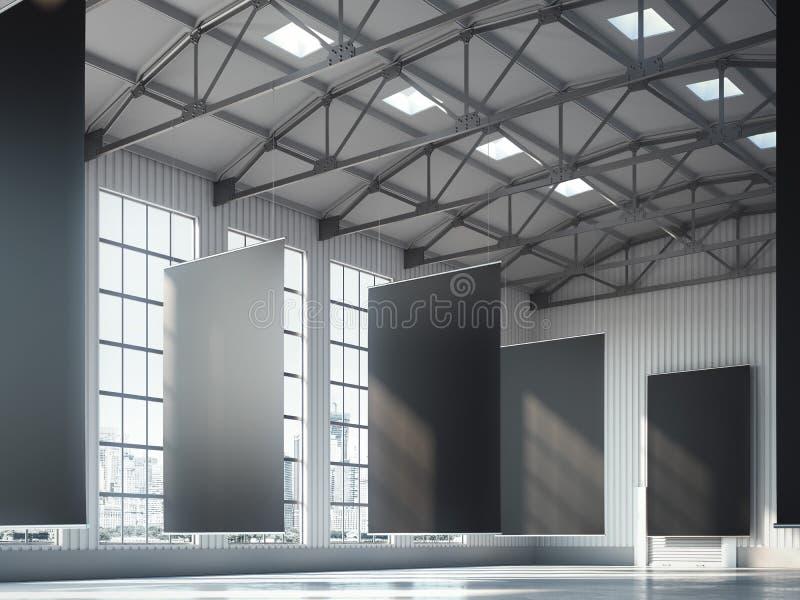 Blank black banners in hangar area. 3d rendering royalty free stock photo
