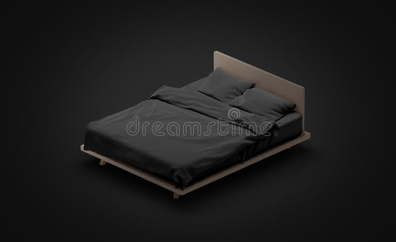 Blank black bed mock up, side view isolated in darkness. 3d rendering. Empty blanket and pillows mockup for sleep. Bedstead with mattress and bedsheet template vector illustration