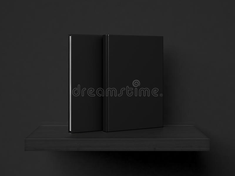 Blank black books on a shelf. 3d rendering royalty free illustration