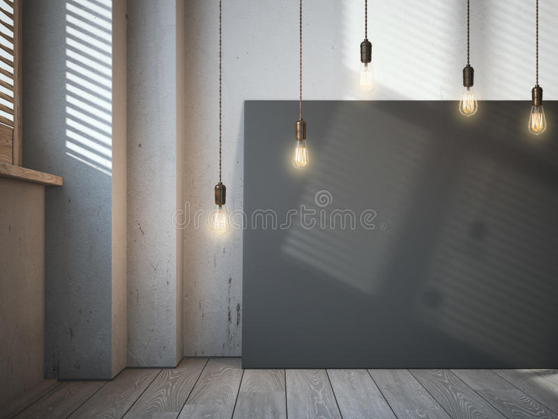 Blank black canvas with glowing bulbs in the loft interior. royalty free stock images