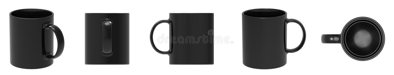 Blank black ceramic mug cup 5 view royalty free stock image