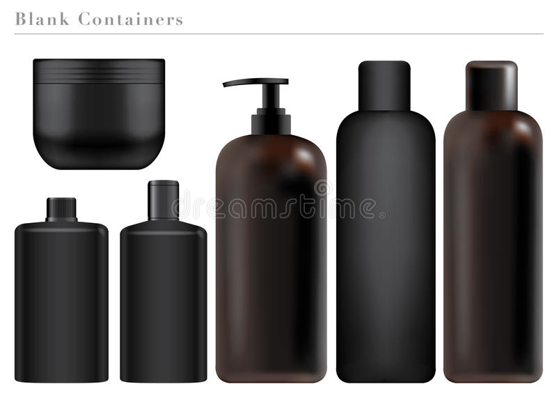 Blank Black Containers. Collection of Blank Black Containers royalty free illustration