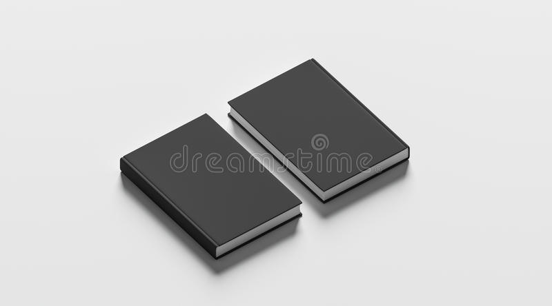 Blank black hardcover books mock up set, front and back. Side view, 3d rendering. Empty notebook cover mockups, isolated. Bookstore branding template. Plain royalty free stock photos
