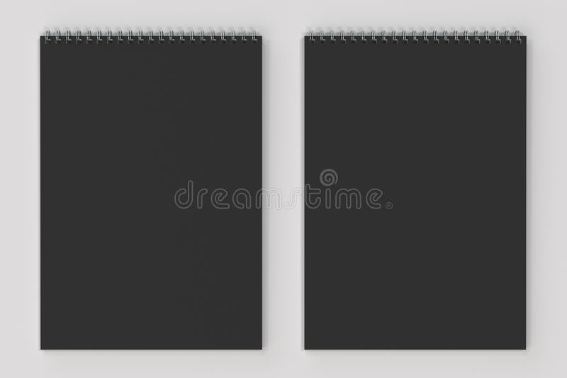 Blank black notebook with metal spiral bound on white background. Business or education mockup. 3D rendering illustration vector illustration