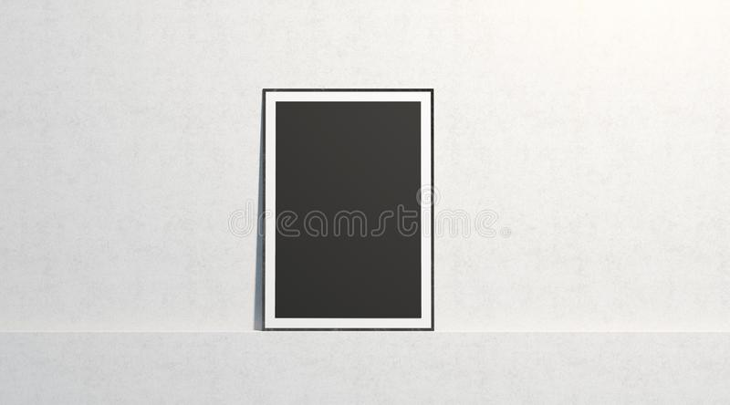 Blank black paper poster mock up, stand at white gallery wall. Isolated, 3d rendering. Empty art placard with frame in museum mockup, front view. Clean photo royalty free stock photo