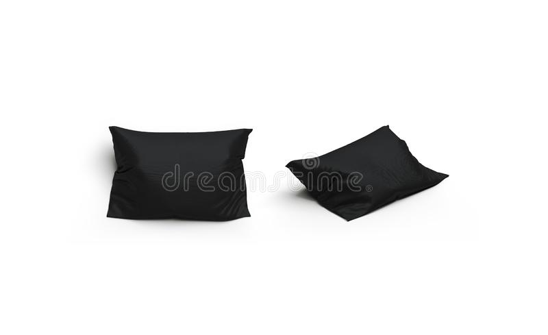 Blank black pillow mockup set, front and side view, isolated. 3d rendering. Empty soft shell for pilow mock up. Clear textile bedclothes template vector illustration