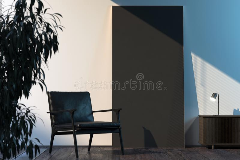 Blank black poster in modern stylish room interior on bright wall near black armchair. 3d rendering. royalty free illustration