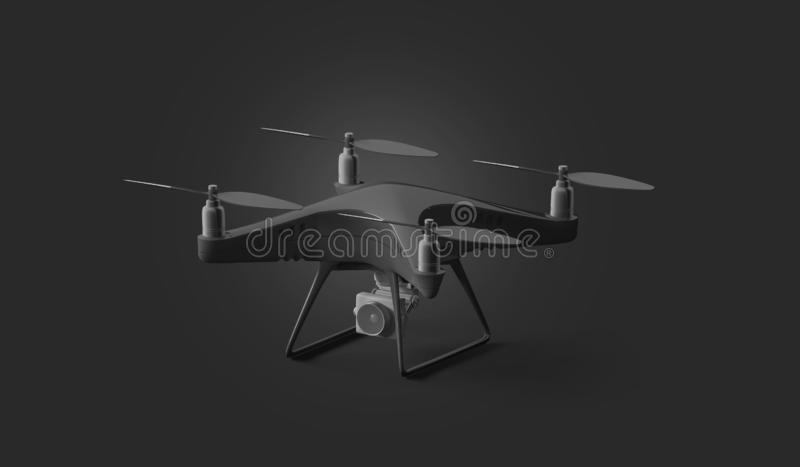 Blank black quadcopter mockup, stand isolated on dark background. 3d rendering. Empty fly quadrocopter mock up, side view. Digital dron for filming template vector illustration