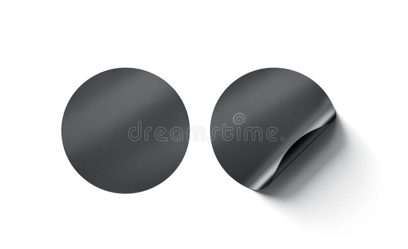 Blank black round adhesive stickers mock up with curved corner. 3d rendering. Empty circle sticky label mockup with curl. Clear adherent tag template for glass stock photography