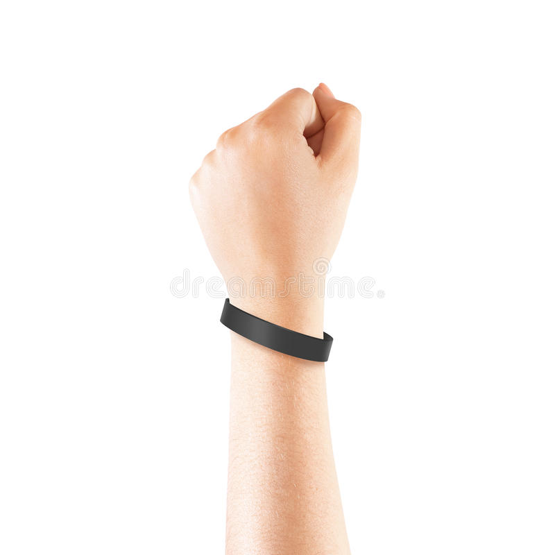 Blank Black Rubber Wristband Mockup On Hand Isolated