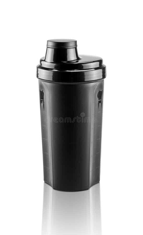 Blank black shaker bottle for sports isolated on white background stock images