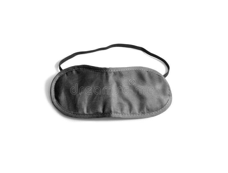 Blank black sleeping mask mockup, isolated, clipping path. Asleep cover band design mock up. Clear satin visor template. Sleeplessness grey cotton insomnia royalty free stock image