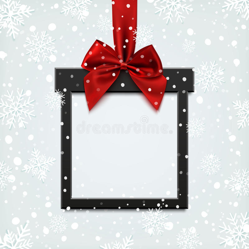 Blank, black square banner in form of Christmas gift. Blank, black square banner in form of Christmas gift with red ribbon and bow, on winter background with vector illustration