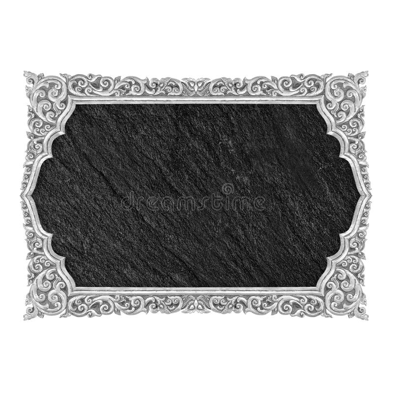Blank black stone sign plate isolated on white background royalty free stock photo
