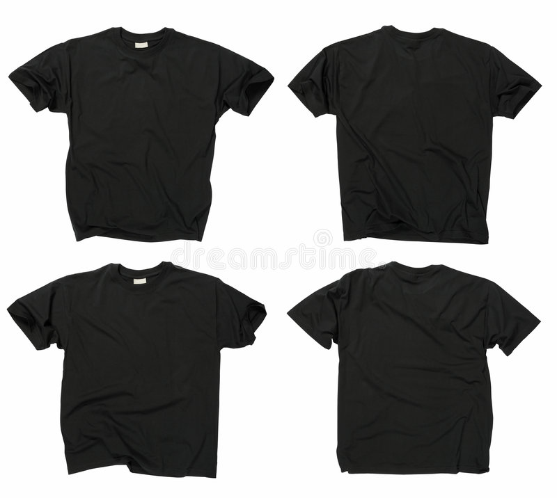 Blank black t-shirts front and back stock images