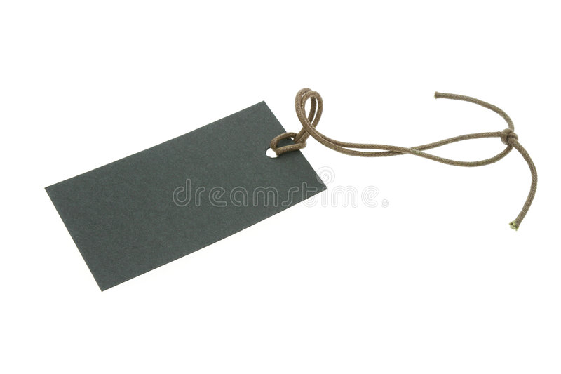 Blank black tag with string royalty free stock image
