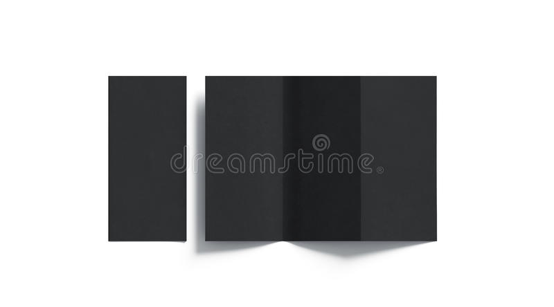 Blank black tri folded booklet mockup, opened and closed. Top view, 3d rendering. Plain trifold brochures mock ups set isolated. Book cover and three flier stock images