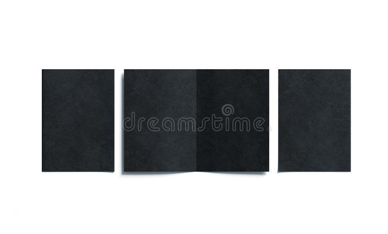 Blank black two folded a5 booklet mock up, opened and closed. Front and back side, top view, 3d rendering. Plain dark twofold brochures mockups set . Book royalty free stock photos