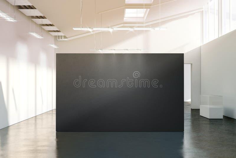 Blank black wall mockup in sunny modern empty gallery, royalty free stock photo