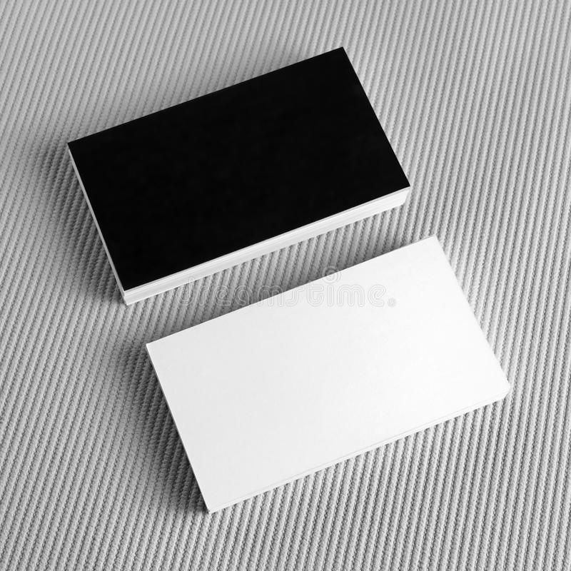 Blank Black And White Business Cards Stock Image - Image of mock ...