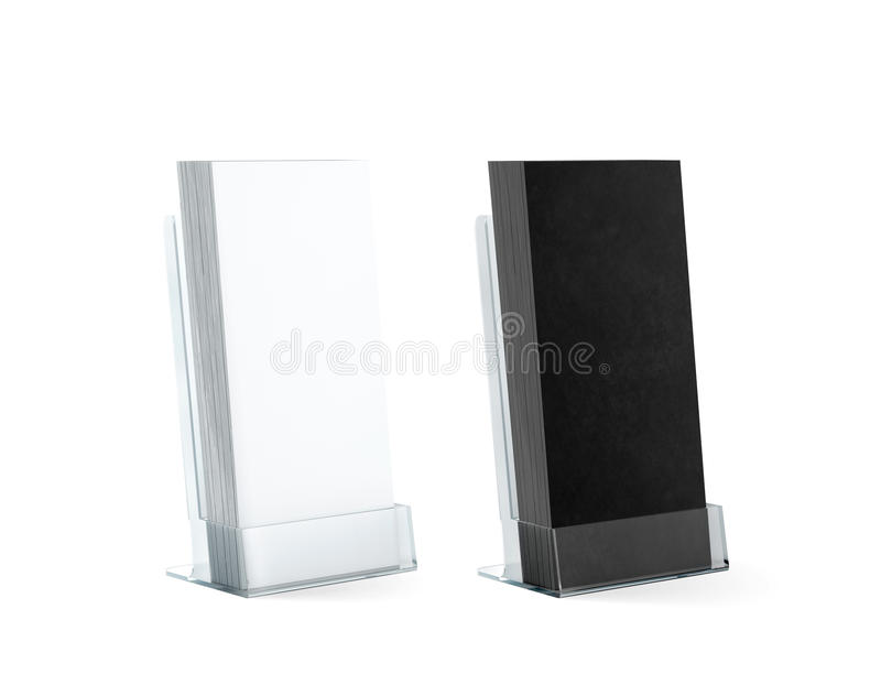 Blank black and white flyers stack mockups glass plastic holder. Blank black and white flyers stack mockups in glass plastic holder, 3d rendering. Dl fliers stock image