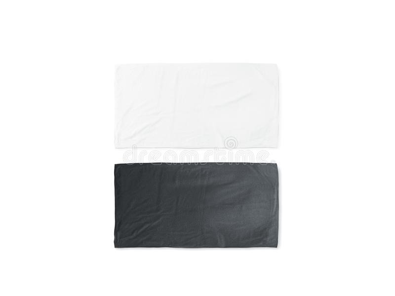 Blank Black And White Folded Soft Beach Towel Mockup Stock Image