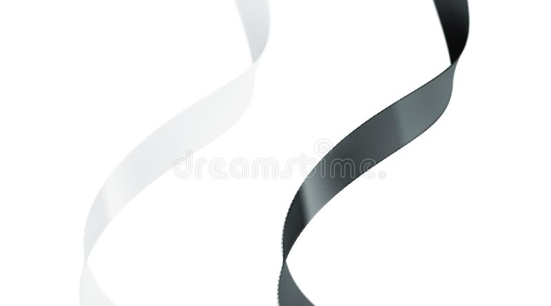 Blank black and white gift silk ribbon mockup set isolated,. Depth of field, 3d rendering. Empty packaging band mock up. Clear swirl decoration riband template royalty free illustration
