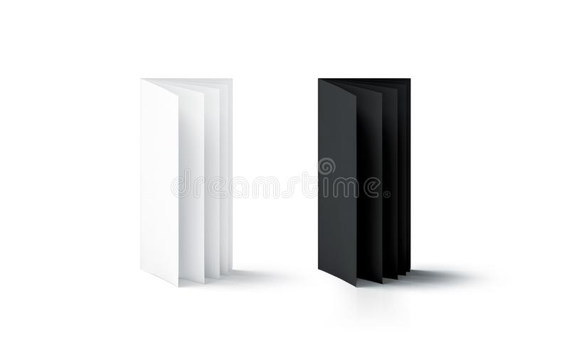 Blank black and white multi-page booklet stand mock up. Side view, 3d rendering. Plain twofold brochures mockups set isolated. Folded book cover and flier royalty free stock images