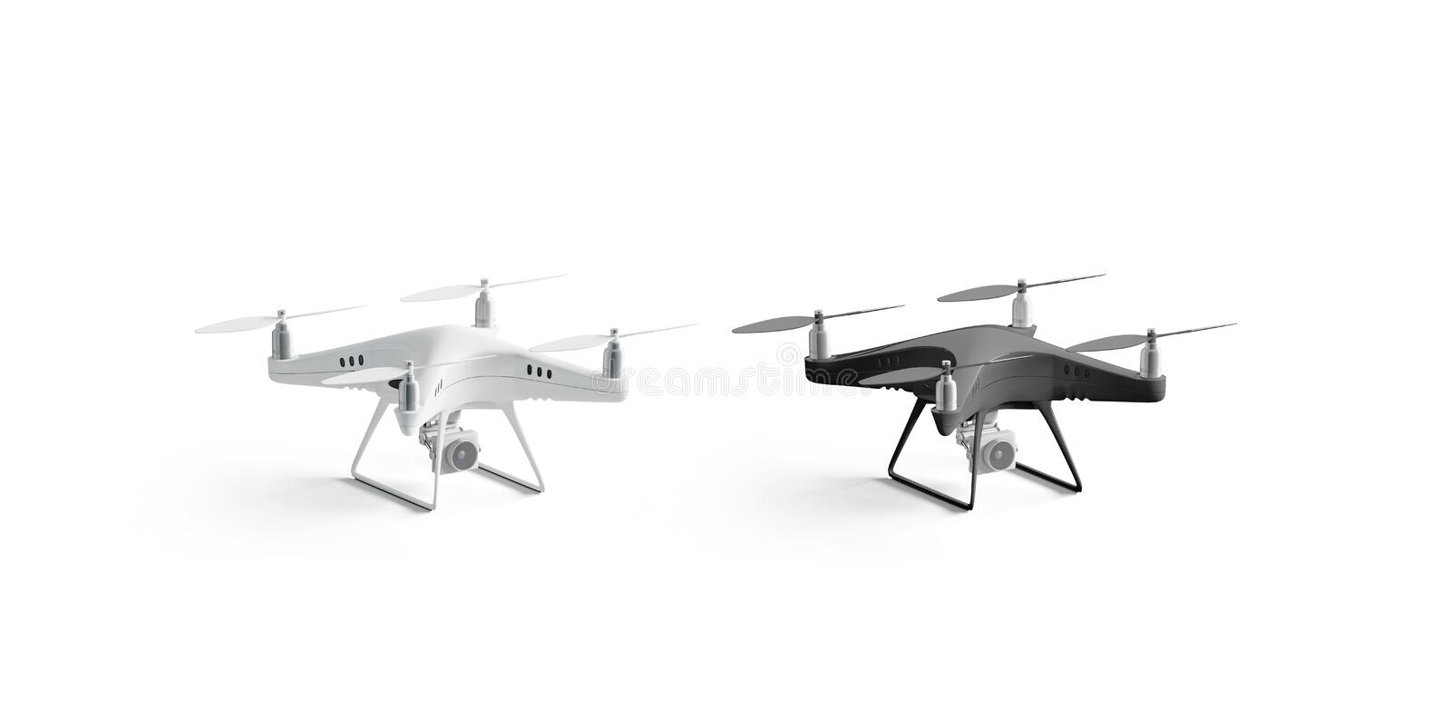 Blank black and white quadrocopter mockup set, stand isolated, vector illustration