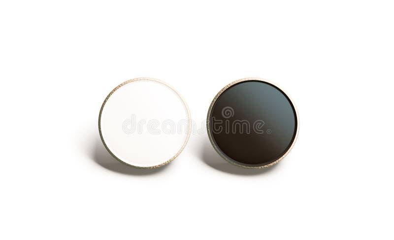 Blank black and white round gold lapel badge mock up stock photo