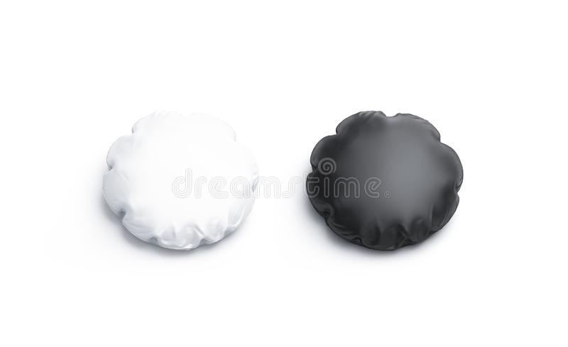 Blank black and white round pillow mockup set, isolated. 3d rendering. Empty domestic accessories mock up. Clear pillowslip for interior. Decorative circle stock illustration