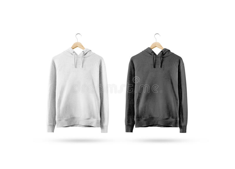 Blank black and white sweatshirt mockup hanging on wooden hanger royalty free stock photography