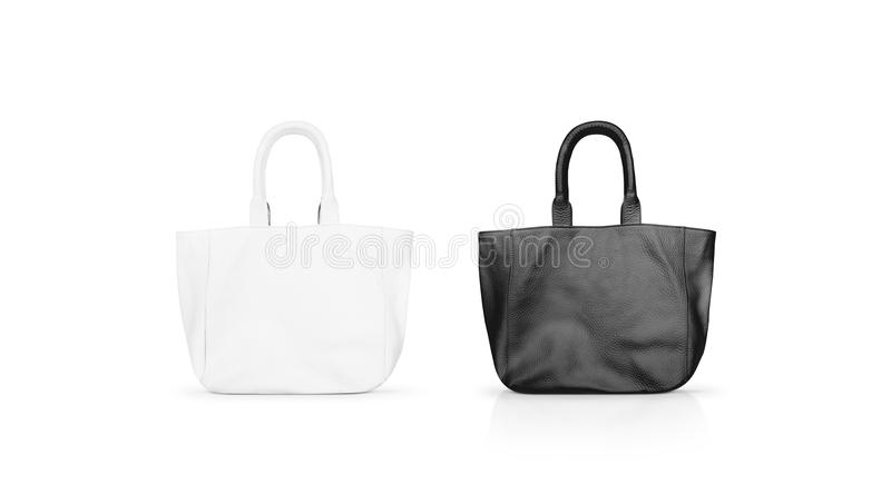 Blank black and white women`s leather bag mock up isolated. stock photo