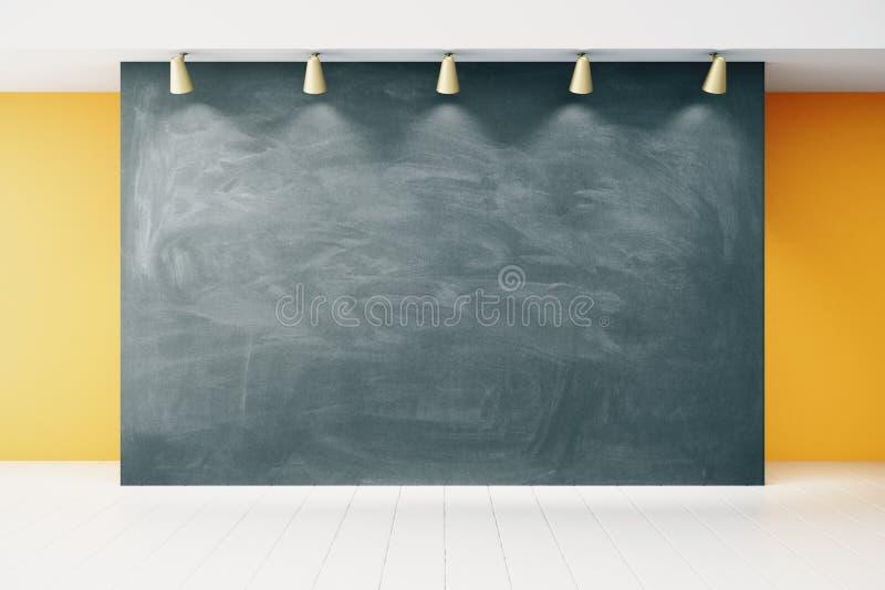 Blank blackboard in empty classroom stock photo