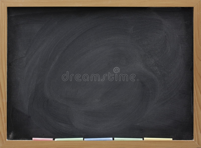 Blank blackboard with white chalk eraser smudges stock image