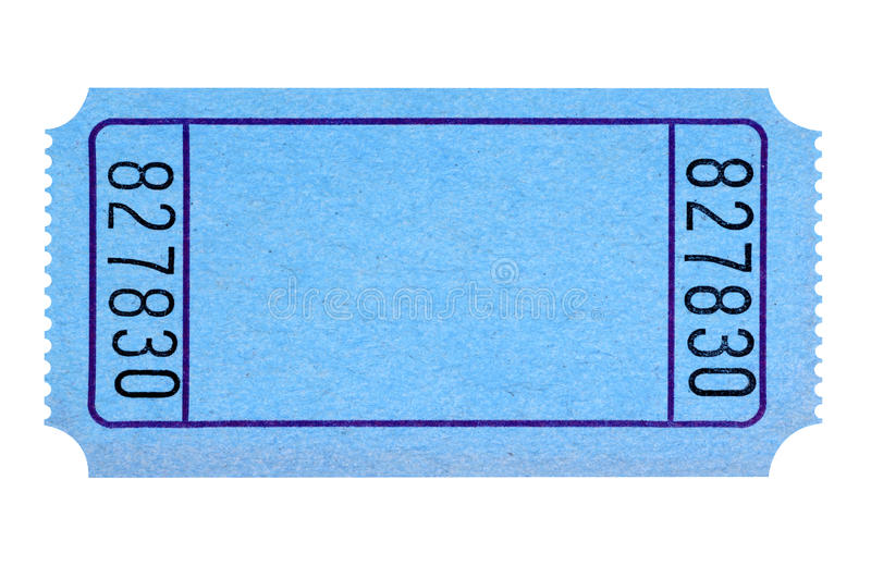 Blank blue movie or raffle ticket isolated on white royalty free stock images