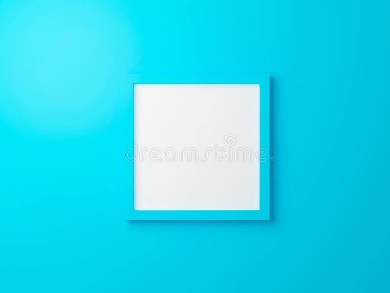 Blank blue photo frame hanging on wall texture in gallery. 3d render interior for product. Empty clean square picture on cyan vector illustration