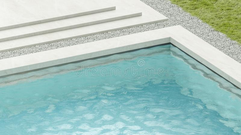 Blank blue rippled water in swimming pool mockup. 3d rendering. Empty basin in hotel or home exterior mock up, side view. Clear aqua surface in poolside royalty free illustration