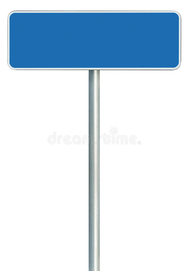 Free Blank Blue Road Sign Isolated, Large White Frame Framed Roadside Signboard Royalty Free Stock Photo - 34815775