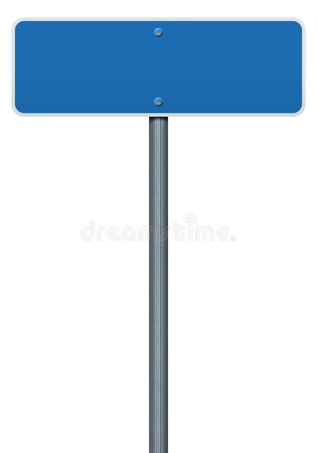 Blank blue Road Sign. Blank blue Road Sign isolated on white background stock illustration