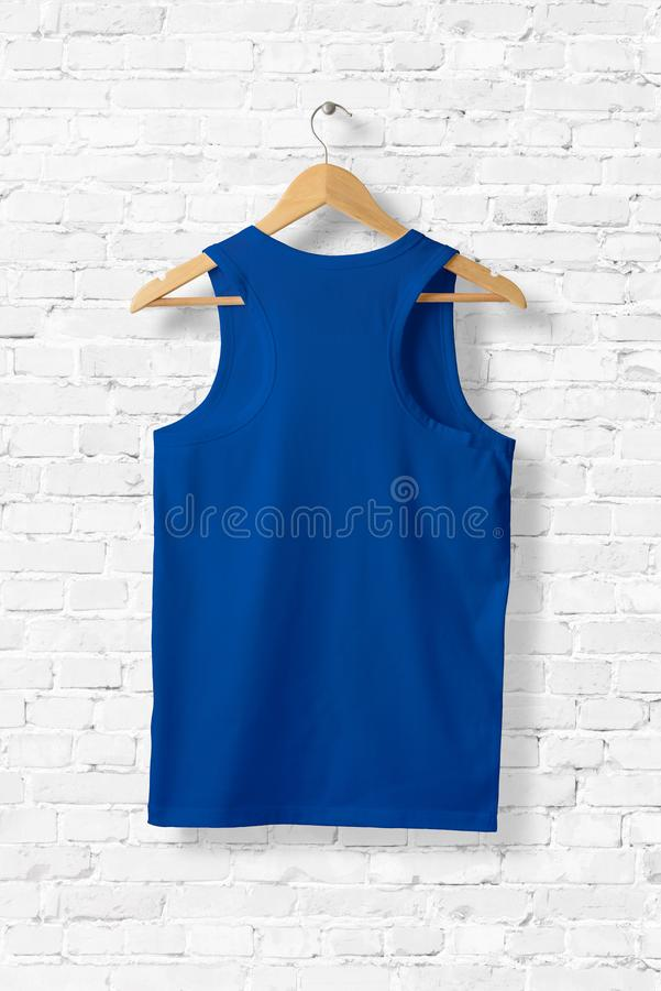 Blank Blue Tank Top Mock-up hanging on white wall. vector illustration