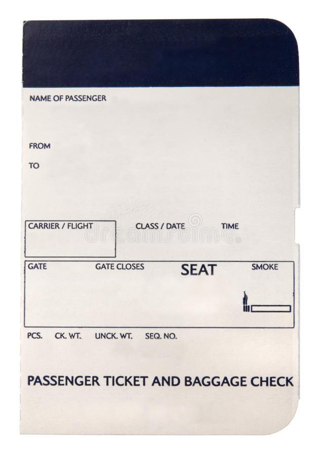 Blank boarding pass stock photography