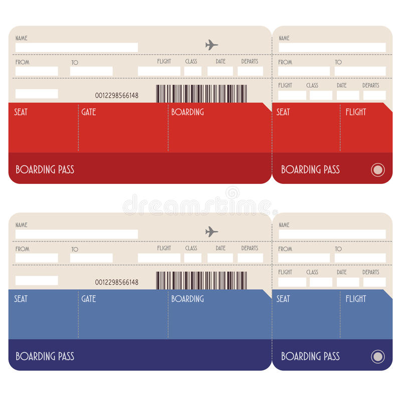 Blank boarding pass. Illustration of two blank airline boarding pass tickets isolated on white vector illustration