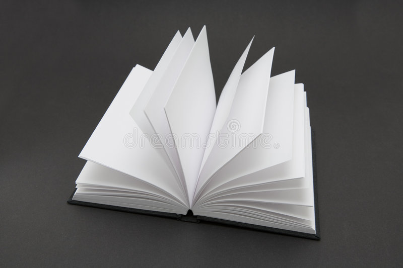 Blank Book. Small black book open with blank pages royalty free stock images