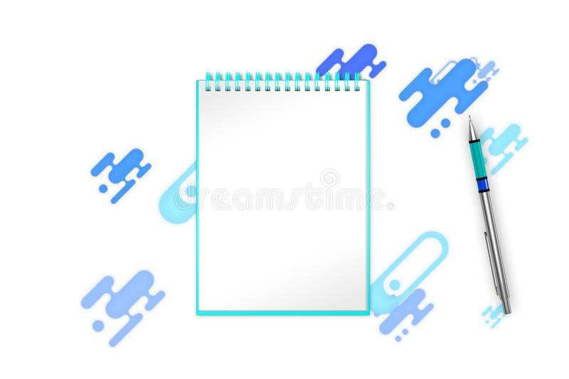 Blank book with blue shapes, forms and dots background you can add any content to. 3d illustration vector illustration