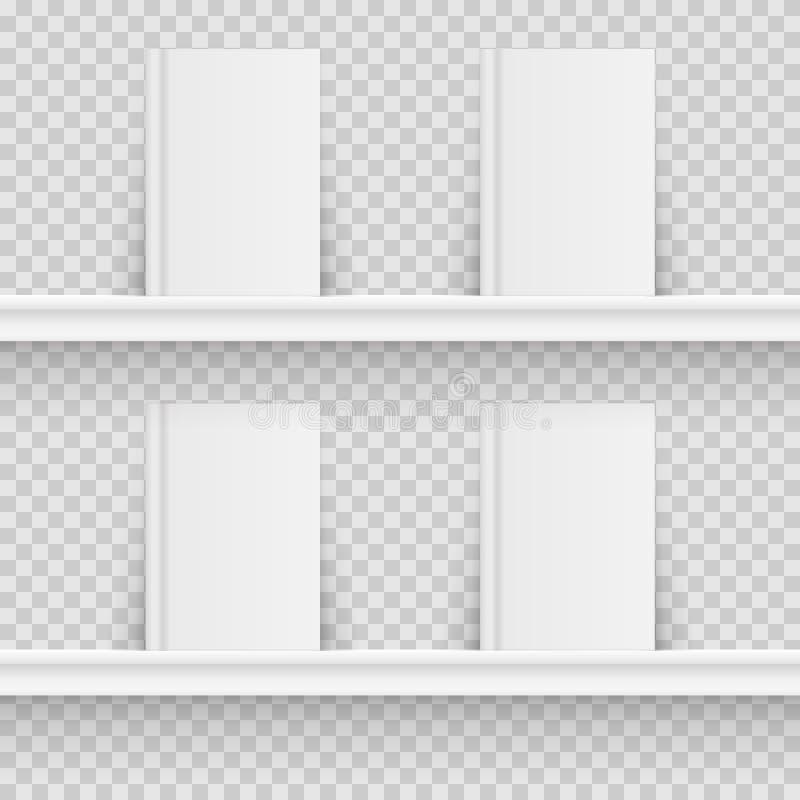Blank book on book shelf. Hardcover Book Mock-Up on transparent background. Vector illustration. vector illustration