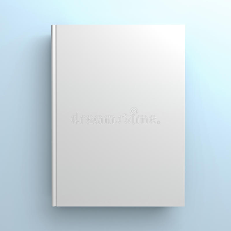Blank book cover on blue background vector illustration