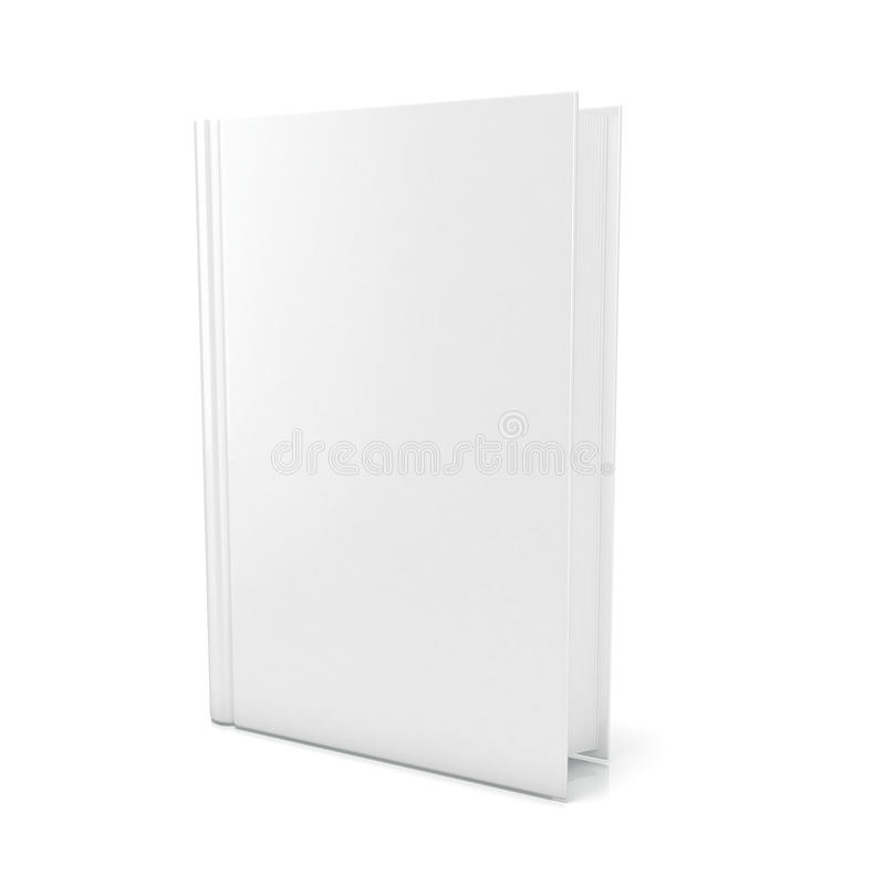 Blank book cover over white background. 3D render royalty free illustration