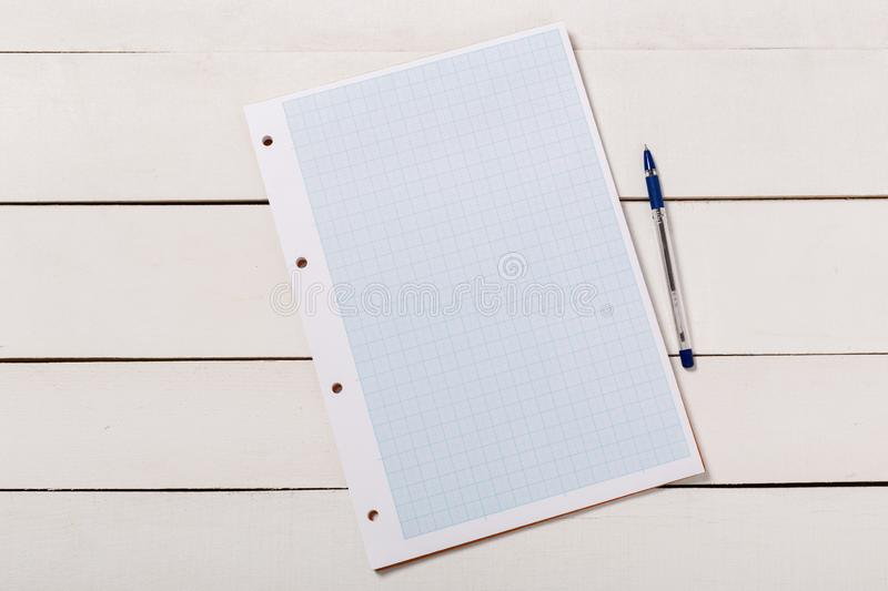 Blank book cover template with page in front side standing on white wood background royalty free stock photos